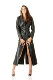 Woman in black leather coat Royalty Free Stock Photo