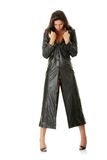 Woman in black leather coat Royalty Free Stock Photography