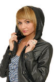 Woman in black leather coat Stock Photos