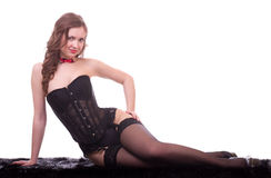 Woman in black leather corset Stock Photography