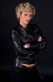 Woman in black leather fashion clothes Royalty Free Stock Photo