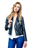 Woman with black leather jacket. stock images