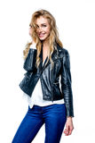 Woman with black leather jacket. Royalty Free Stock Photos