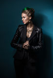 Woman in black leather jacket Stock Photography