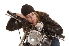 Woman black leather motorcycle lay sleep Stock Photo