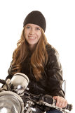 Woman black leather motorcycle look smile Stock Images