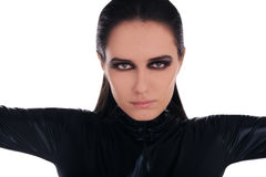 Woman in Black Leather Suit Stock Photography