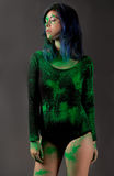 Woman in Black Leotard Covered in Green Poweder Royalty Free Stock Images
