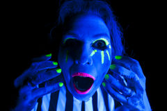 Woman black light mouth open Royalty Free Stock Photo