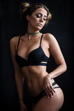 Woman in black lingerie Royalty Free Stock Images