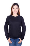 Woman in black long sleeve t-shirt isolated on a white backgroun. Happy woman in black long sleeve t-shirt isolated on a white background Stock Photo