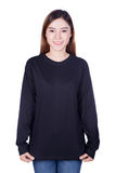 Woman in black long sleeve t-shirt isolated on a white backgroun Stock Photography