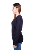 Woman in black long sleeve t-shirt isolated on white background Royalty Free Stock Images