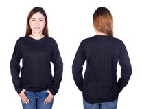 Woman in black long sleeve t-shirt isolated on white background. Woman in black long sleeve t-shirt isolated on a white background Royalty Free Stock Images