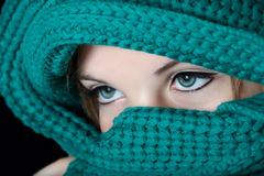 Woman with black make-up on eyes Royalty Free Stock Image