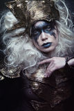 Woman with black make up and white wig Royalty Free Stock Images