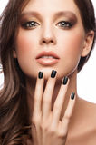 Woman with black manicure Royalty Free Stock Image