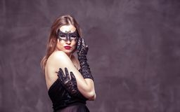 Woman in Black Mask stock image