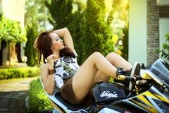 Woman on Black Motorcycle during Daytime Royalty Free Stock Image