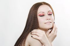 Woman with black nail polish and dark make-up Royalty Free Stock Photos