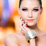 Woman with black nails and makeup Stock Photos