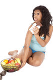 Woman black not want fruit Stock Image
