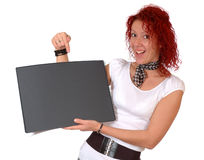 Woman with black pad Royalty Free Stock Image