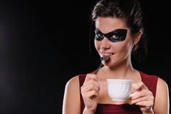 Woman with black party mask Royalty Free Stock Photos