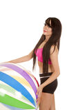 Woman black and pink fitness big beach ball Stock Photos
