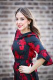 Woman in Black and Red Floral Half-sleeved Dress Stock Photo