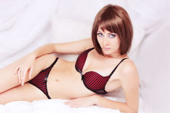 Woman in black and red lingerie Royalty Free Stock Image