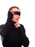 Woman with black ribbon on eyes Royalty Free Stock Photos