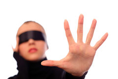 Woman with black ribbon on eyes Stock Photo