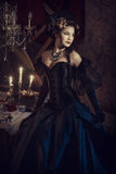 Woman in black rococo dress Royalty Free Stock Photos