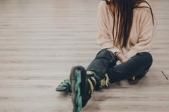 A woman in black roller skates royalty free stock photos