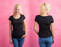 Woman in black round neck T-shirt on pink background. Front and back Royalty Free Stock Image