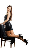 Woman in black shiny dress Royalty Free Stock Photography