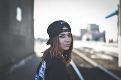 Woman in Black Shirt and Black Snap Back Cap Stock Photo