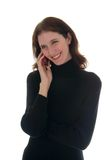 Woman In Black Shirt Talking on Cell Phone 1 Stock Image