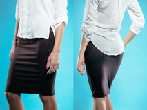 Woman in black skirt Stock Images