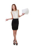 Woman in black skirt holding  paper documents over white Stock Photo