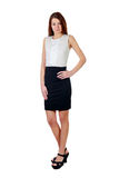 Woman in black skirt over white Royalty Free Stock Images
