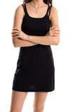 Woman in black sleeveless dress. Royalty Free Stock Photo