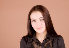 Woman in black smiling Royalty Free Stock Photography