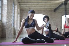 Woman With Black Sports Bra and Black Leggings Doing Yoga Royalty Free Stock Photo