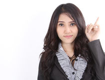 Woman in black suit. Image of asian business woman in black suit on white background Stock Image