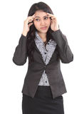 Woman in black suit Royalty Free Stock Image