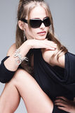 woman with black sunglasses Stock Photography