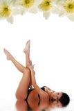 Woman in black swimwear Stock Photo