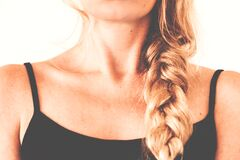 Woman in Black Tank Top With Braided Hair Royalty Free Stock Images
